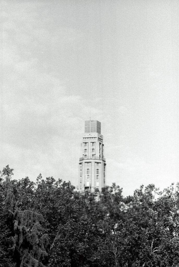 La tour perret derrière les arbres